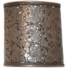Rare Detailed Silver Detailed Multi Floral Filigree Cuff