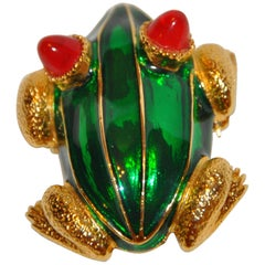"Kenneth Lane Rare Vivid Whimsical Green Enamel with Red Accent ""Frog"" Brooch"