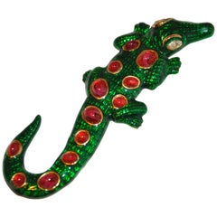 """Kenneth Lane Whimsical Green Enamel with Ruby-Like Accent """"Alligator"""" Brooch"""