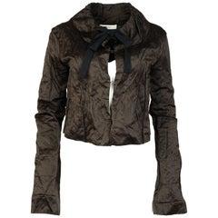 Prada Brown Crinkled Cropped Jacket W/ Drawstring Neck Sz 38