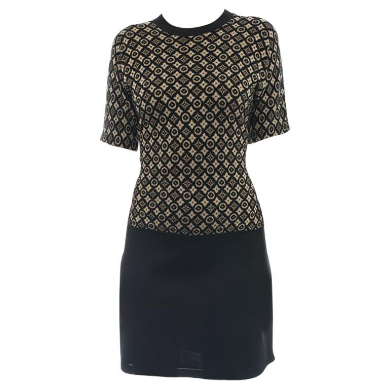 Louis Vuitton Monogram Logo Black and Yellow Knit Sweater Dress - L For Sale