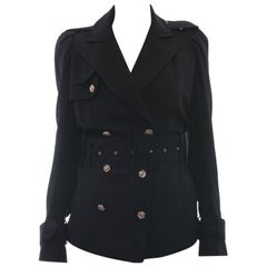 John Galliano Vintage Black Short Trench Jacket - 8