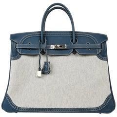 Hermes Birkin 40 Bag Ghillies Blue de Prusse w/ Blue Toile Palladium Hardware