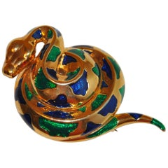 "Whimsical Gilded Gold Hardware with MultiColor Enamel Inlay ""Copperhead"" Brooch"