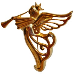 "Givenchy Gilded Gold Vermeil Hardware ""Musical Angel"" Brooch"