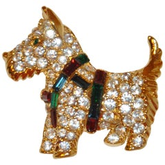 "Whimsical Gilded Gold Vermeil Hardware ""Scottie with Multi-Color Harness"" Brooch"