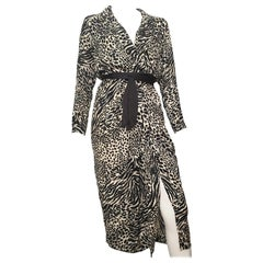 Geoffrey Beene for Lillie Rubin 1980 Animal Print Silk Dress Size 6.