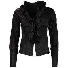 Donna Karan Black Ruffle Front Silk Jacket Sz 2