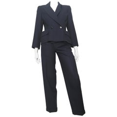 Chloe 1980s Navy Wool Pant Suit Size 4.