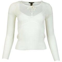 Louis Vuitton Cream Long-Sleeve Silk Sheer Knit Top W/ White Flower Buttons Sz S