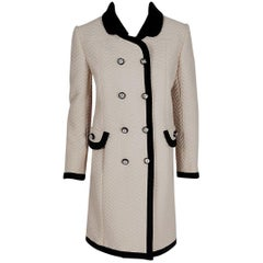 1960's Italian Couture Creme & Black Waffle Silk-Pique Double Breasted Mod Coat