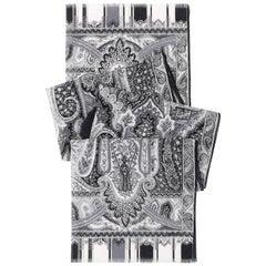 ETRO Black & White Silk Chiffon Paisley Print Oblong Scarf