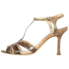 Jimmy Choo NEW Tan Python T-Strap Medium Heel Sandal Sz 36.5 w/ Dust Bag