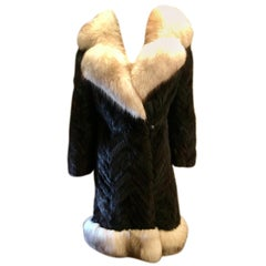 Oleg Cassini Black Herringbone Mink Coat with Silver Fox Fur Collar and Trim
