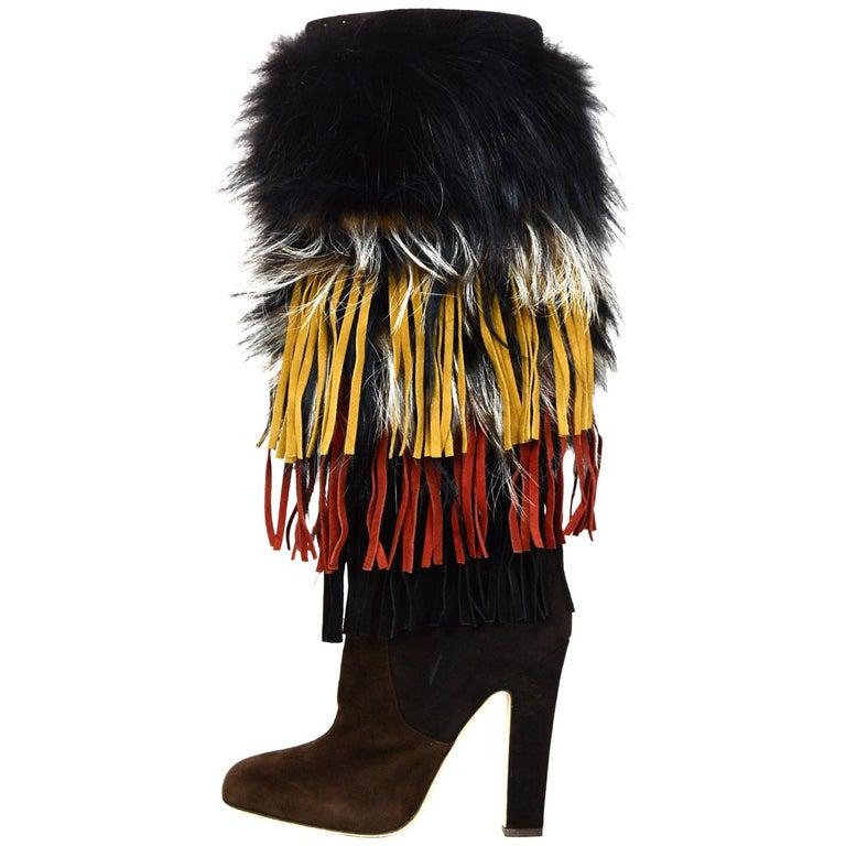 Jimmy Choo Brown Suede Dalia Boots W/ Fox Fur & Fringe Sz 38.5 rt. $3,495 For Sale