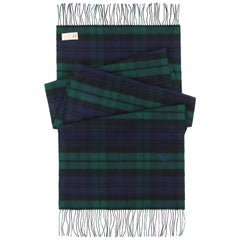 GUCCI c.1980's Navy Blue & Green Tartan Plaid Cashmere Fringe Oblong Scarf