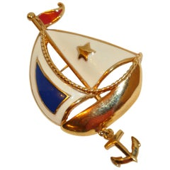 """Sails Away"" Multi Color Gilded Gold Hardware Overlay with Enamel Brooch"