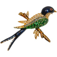 "Gilded Gold Vermeil Hardware with Rich Multi-Color Enamel ""Robin"" Brooch"