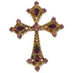 """Gilded Gold Vermeil Hardware Filigree """"Cross"""" Brooch Accented with Violet Stones"""