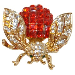 "Beautifully Detailed Filigree with Faux Rubies & Diamonds ""HoneyBee"" Brooch"