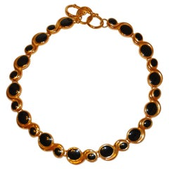 Sculpted Gilded Gold Vermeil Hardware with Onyx-Like Accent Choker Necklace