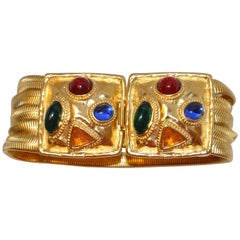 Gilded Gold Vermeil Hardware 5-Tier with Multi Color Abstract Bracelet