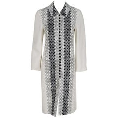 1995 Carolina Herrera Black & White Embroidered Deco-Circles Linen Coat Jacket
