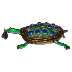 "Silver-Based with Lapis-Blue & Sea-Green Baked Enamel ""Movable Turtle"" Pendant"