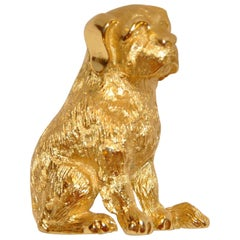 "Trifari Etched Gilde Gold Vermeil Hardware ""Puppy"" Brooch"