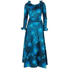 1966 Arnold Scaasi Couture Watercolor Blue Floral Silk Long-Sleeve Evening Gown