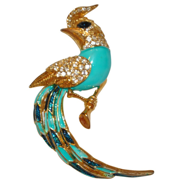 """Whimsical Gilded Gold Vermeil Hardware """"Bird of Fancy"""" Turquoise Accents Brooch For Sale"""