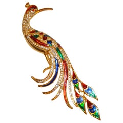 "Huge Magnificent Multi-Color Enamel and Faux Diamonds ""Peacock"" Brooch"
