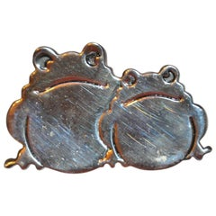 "Whimsical Sterling Silver ""Frogie Pals"" Brooch"