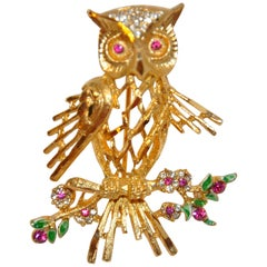 "BSK Gilded Gold Vermeil Hardware Filigree ""Owl Among Floral"" Brooch"