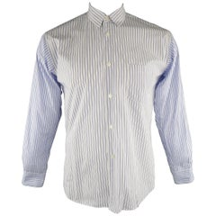 COMME des GARCONS Size M White & Blue Stripe Cotton Long Sleeve Shirt
