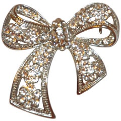 "Polished Silver Hardware ""Floral Bow"" with Faux Diamonds Brooch"