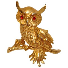 "Gilded Gold Vermeil Hardware ""Owl"" Brooch with Ruby-Like Eyes"