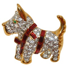 "Whimsical Gilded Gold Vermeil Hardware ""Scottie with Red Harness"" Brooch"