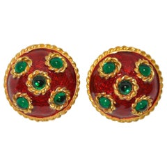 Yosca Gilded Gold Vermeil Hardware with Pour Glass and Deep-Wine Enamel Earrings