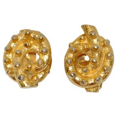 "Kenneth Jay Lane Etched Gilded Gold Vermeil Hardware ""Studded Pretzel"" Earrings"