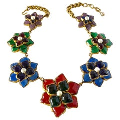 Scarce  1980's Chanel Flower  Statement  Gripoix Necklace
