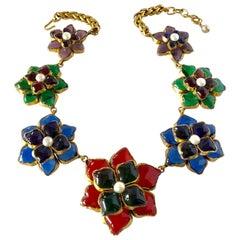 Scarce  1980's Chanel Flower  Statement  Gripoix Necklace