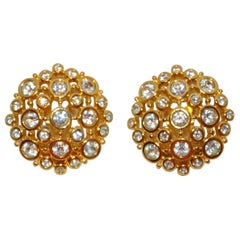 "Polished Gilded Gold Vermeil Hardware ""Starburst"" with Faux Diamond Earrings"