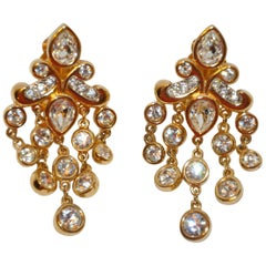 "Polished Gilded Gold Vermeil Hardware ""Chandelier"" Earrings with Faux Diamonds"