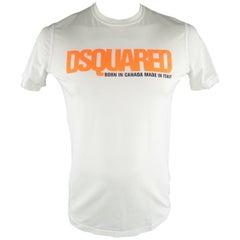 """DSQUARED2 Size L White Graphic """"Born in Canada"""" Cotton T-shirt"""