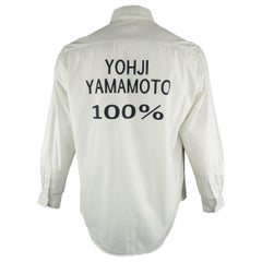 YOHJI YAMAMOTO Shirt - 100% - Size L White Graphic Cotton Long Sleeve Shirt 2007