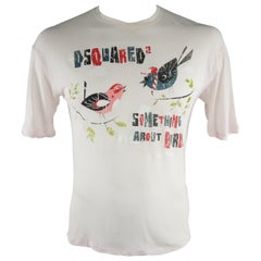 """DSQUARED2 Size S Light Pink Graphic """"Something about Birds"""" Cotton T-shirt"""