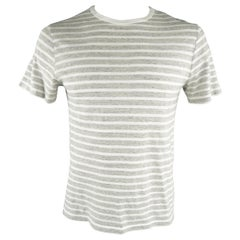 OFFICINE GENERALE Size M Grey & White Stripe Cotton T-shirt