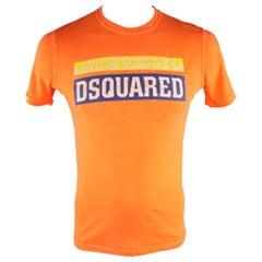 "DSQUARED2 Size M Orange Graphic ""Rebellion Soundsystem"" Cotton T-shirt"