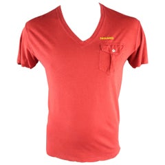 DSQUARED2 Size M Red Solid Cotton / Linen V-neck T-shirt